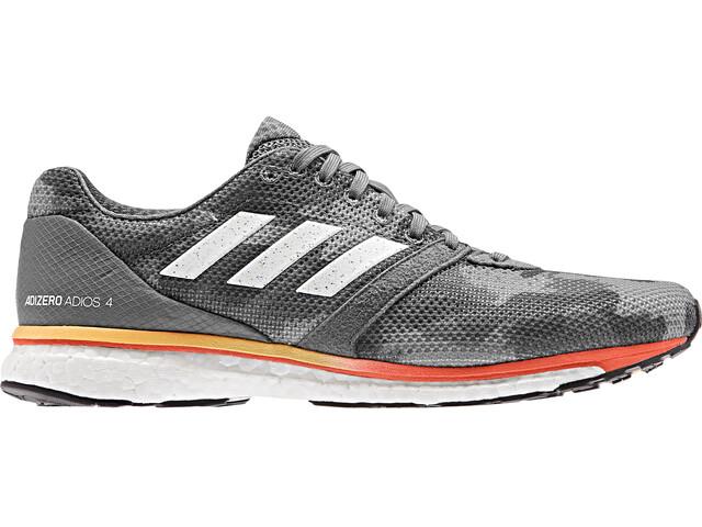 adidas Adizero Adios 4 Kengät Miehet, grey four/footwear white/solar orange